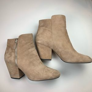 1 STATE Tan Suede Zippered Bootie